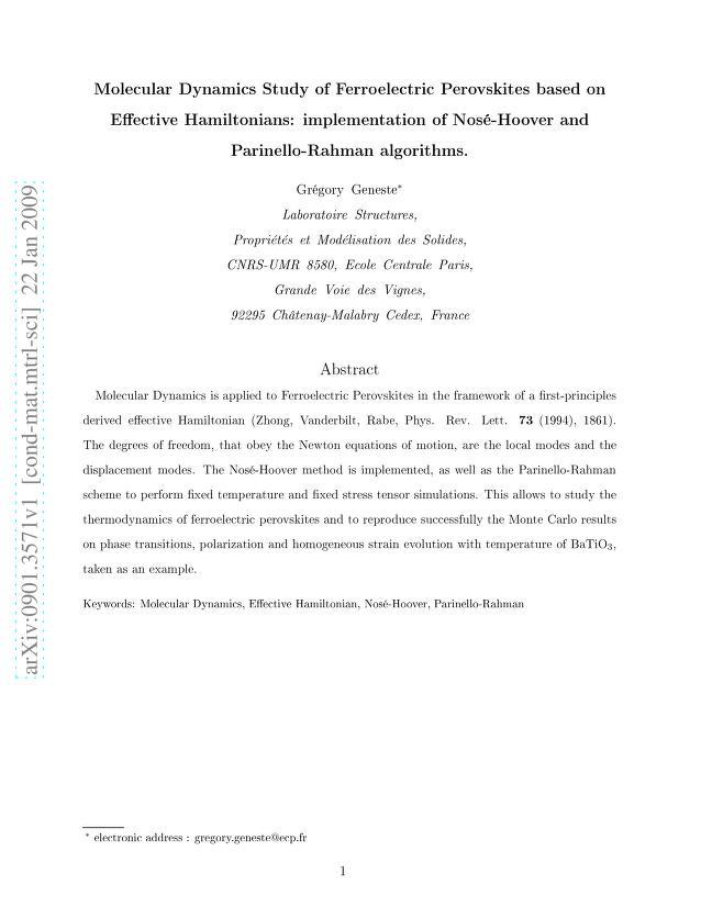 Gregory Geneste - Molecular Dynamics Study of Ferroelectric Perovskites based on Effective Hamiltonians: implementation of Nose-Hoover and Parinello-Rahman algorithms