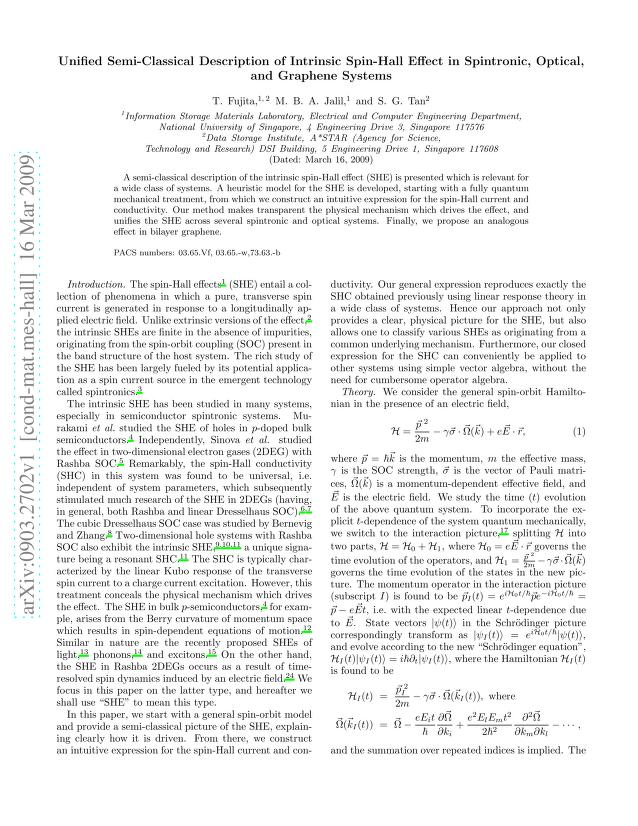 T. Fujita - Unified Semi-Classical Description of Intrinsic Spin-Hall Effect in Spintronic, Optical, and Graphene Systems