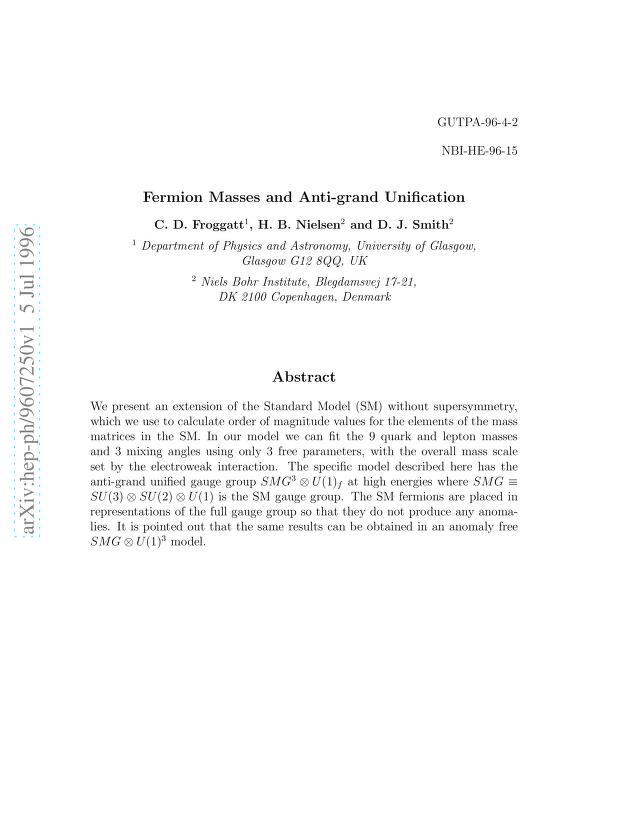 C. D. Froggatt - Fermion Masses and Anti-grand Unification